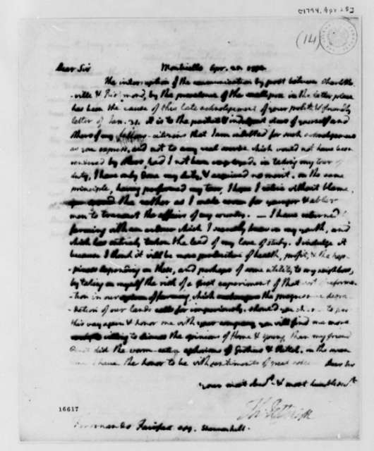 Thomas Jefferson to Ferdinando Fairfax, April 25, 1794