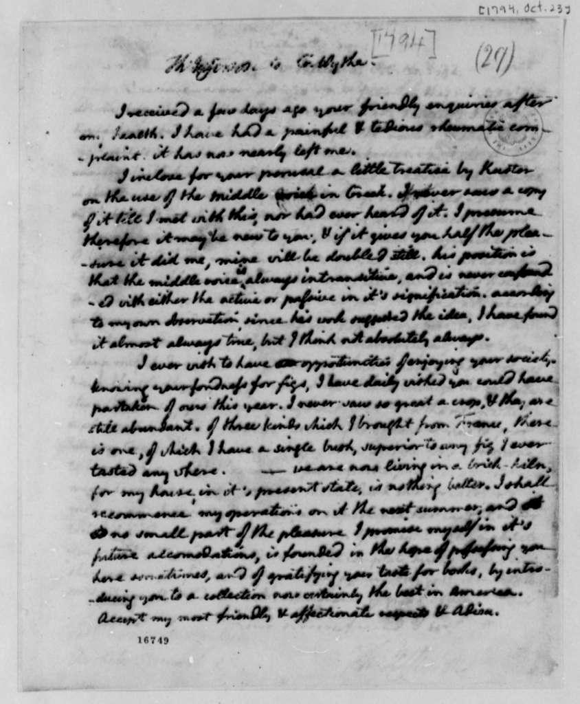 Thomas Jefferson to George Wythe, October 24, 1794