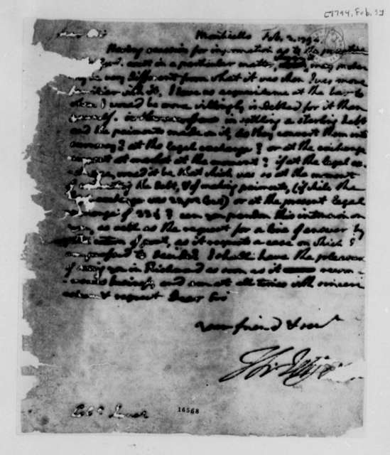 Thomas Jefferson to James Innes, February 3, 1794, Mutilated