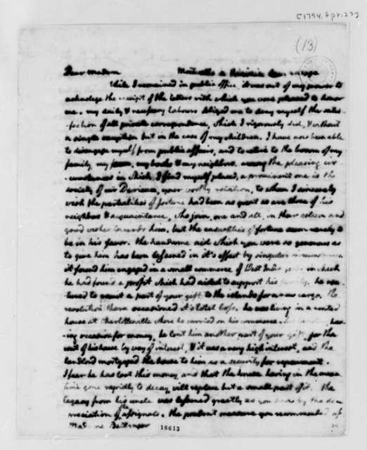 Thomas Jefferson to Madame Plumard de Bellanger, April 23, 1794