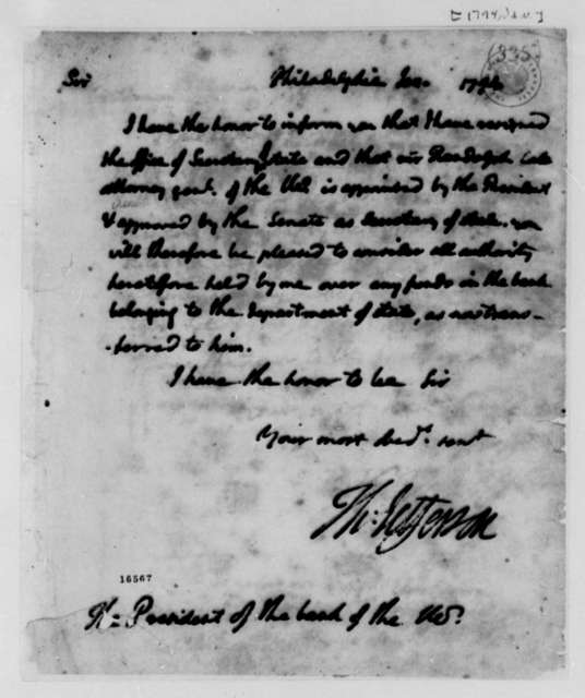 Thomas Jefferson to President of the Bank of the U.S., January 1794