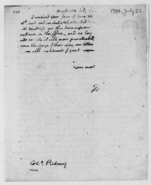 Thomas Jefferson to Timothy Pickering, July 23, 1794, Partly Illegible