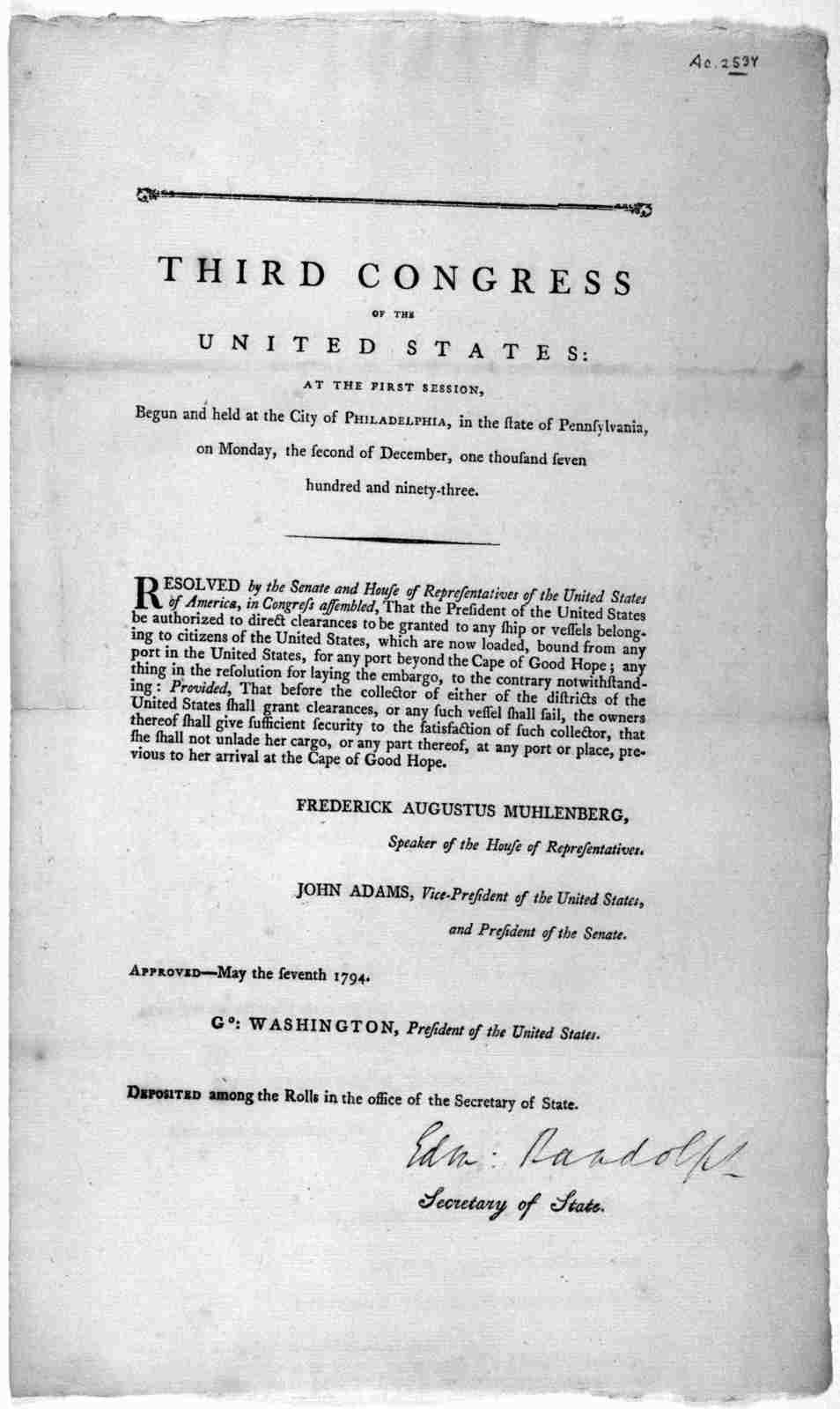 U.S. Congress.  Resolved by the Senate and House of Representatives of the United States of America, in Congress assembled, That the President of the United States be authorized to direct clearances to be granted to any ship or vessels belonging