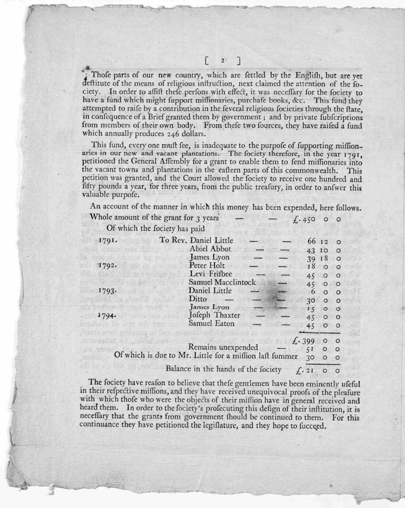 A brief account of the present state, income, expenditures, &c. of the Society for propagating the gospel among the Indians, and others, in North-America ... By order Peter Thacher, Secretary. Boston Jan. 1795.