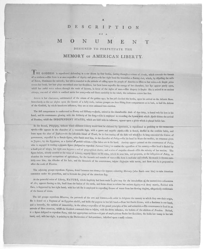 A description of a monument designed to perpetuate the memory of American liberty [Feb. 14, 1795].