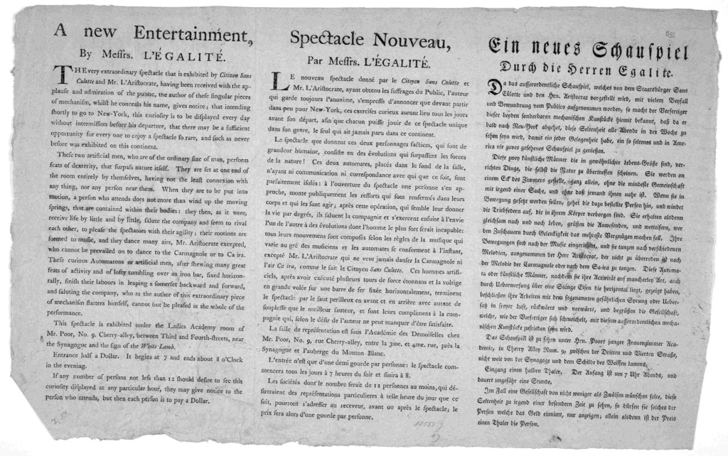 A new entertainment, by Messrs. L'Egalité The very extraordinary spectacle that is exhibited by Citizen Sans Culotte and Mr. L. Aristocrate, having been received with the applause and admiration of the public, the author of these singular pieces