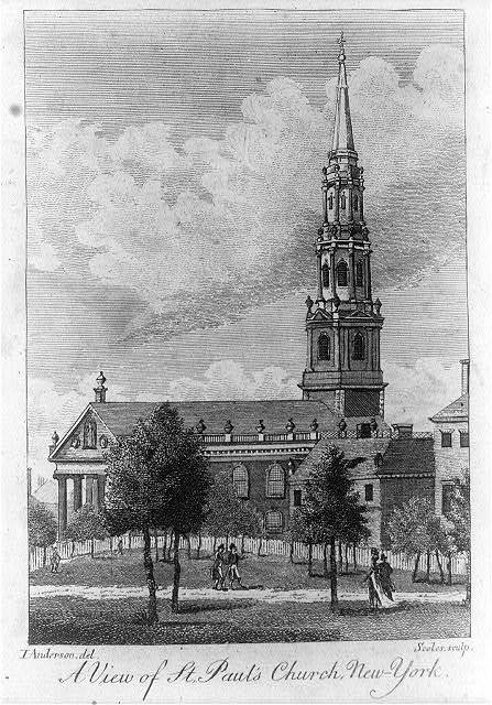 A view of St. Paul's Church, New-York / T. Anderson del. ; Scoles sculp.