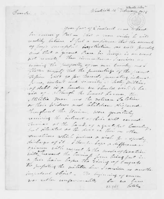 Alexander White to James Madison, February 14, 1795.