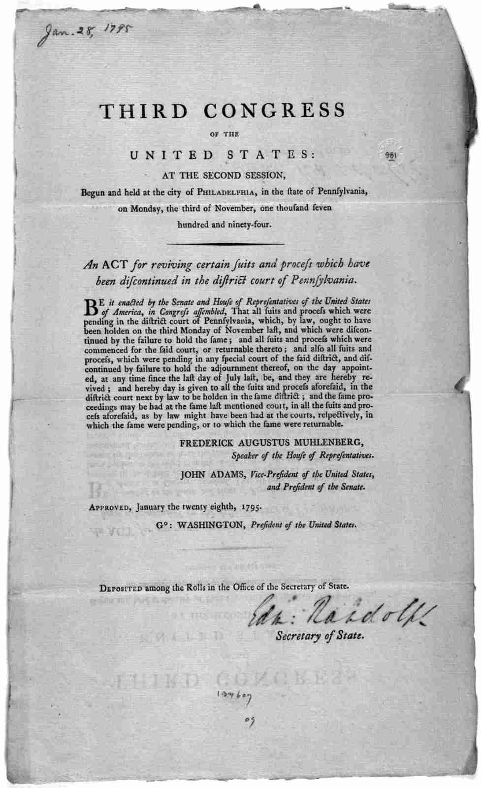 ... An act for reviving certain suits and process which have been discontinued in the district court of Pennsylvania. [Philadelphia: Printed by Francis Childs, 1795].