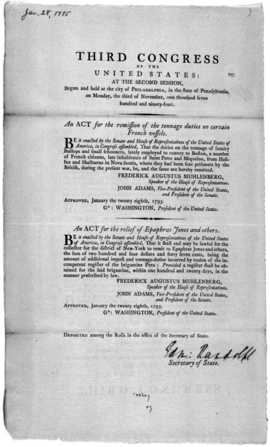 ... An act for the remission of the tonnage duties on certain French vessels. [Followed by] An act for the relief of Epaphras Jones and others. [Philadelphia: Printed by Francis Childs, 1795].
