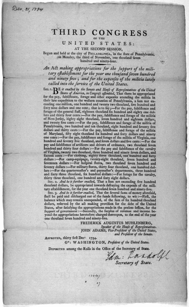 ... An act making appropriations for the support of the military establishement for the year one thousand seven hundred and ninety-five; and for the expenses of the militia lately called into the service of the United States. [Philadelphia: Prin