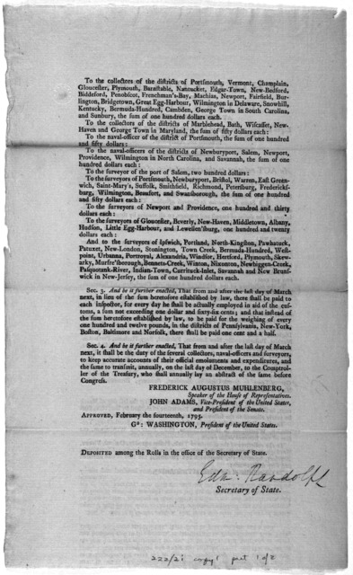 ... An act relative to the compensations of certain officers employed in the collection of duties of imports and tonnage. [Philadelphia: Printed by Francis Childs, 1795].