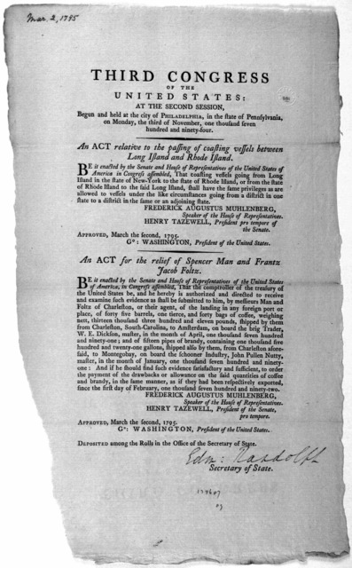 ... An act relative to the passing of coasting vessels between Long Island and Rhode Island. [Followed by] An act for the relief of Spencer Man and Frantz Jacob Foltz. [Philadelphia: Printed by Francis Childs, 1795].