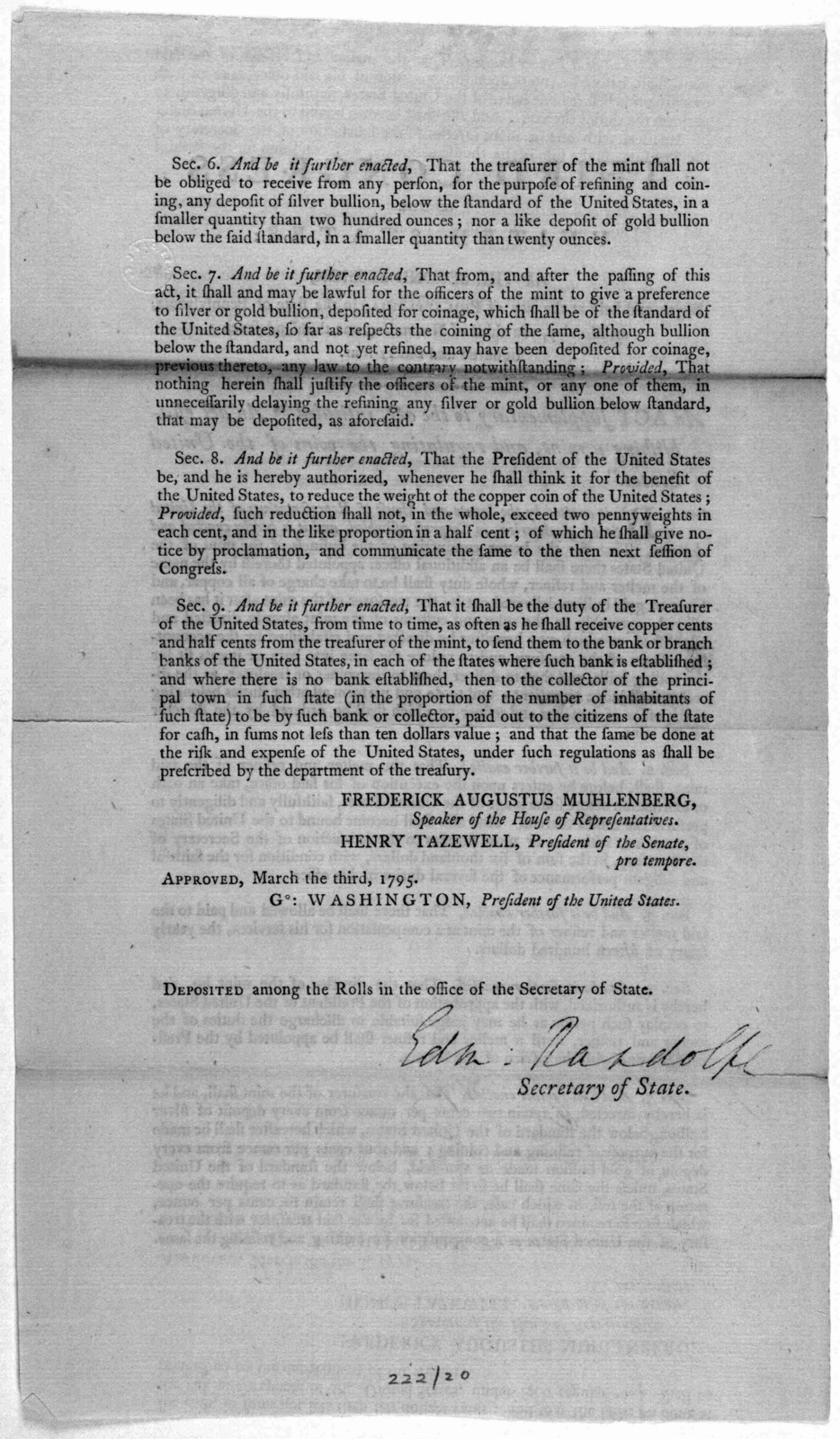 """... An act supplementary to the act, intituled """"An act establishing a mint, and regulating the coins of the United States."""" [Philadelphia: Printed by Francis Childs 1795]."""