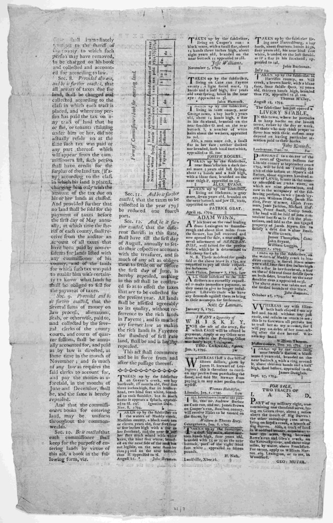 An act, to amend an act entitled 'an act establishing a permanent revenue.' Approved December 20, 1794. [Lexington], 1795.