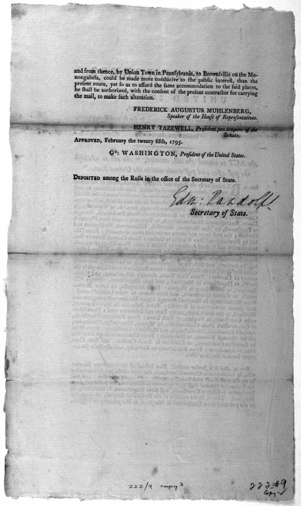"... An act to amend the act, entitled, ""An act to establish the post-office and post-roads within the United States. [Philadelphia: Printed by Francis Childs, 1795.]."