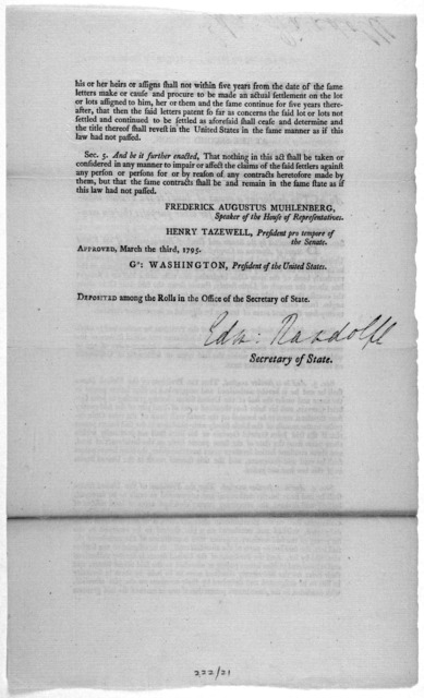 ... An act to authorize a grant of lands to the French inhabitants of Galliopolis, and for other purposes therein mentioned. [Philadelphia: Printed by Francis Childs, 1795].