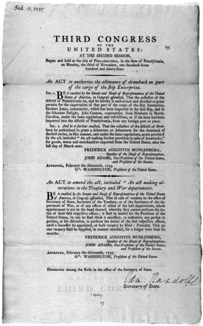 "... An act to authorize the allowance of drawbacks on part of the cargo of the ship Enterprize ... [Followed by] An act to amend the act, intituled ""An act making alterations in the Treasury and War department. [Philadelphia: Printed by Francis"
