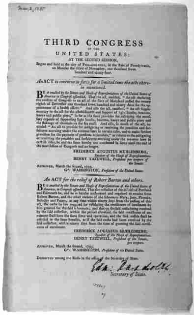 ... An act to continue in force for a limited time the acts therein mentioned. [Followed by] An act for the relief of Robert Barton and others. [Philadelphia: Printed by Francis Childs, 1795].
