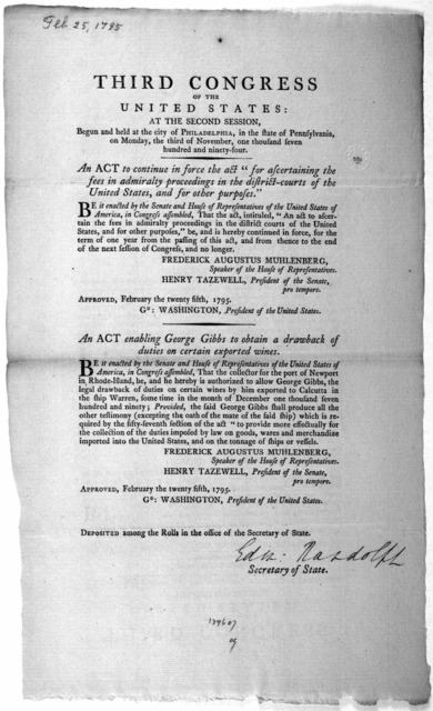 "... An act to continue in force the act ""for ascertaining the fees in admiralty proceedings in the district courts of the United States, and for other purposes."" [Followed by] An act enabling George Gibbs to obtain a drawback of duties on certai"