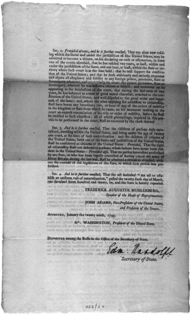 ... An act to establish an uniform rule of naturalization; and to repeal the act heretofore passed on that subject. [Philadelphia: Printed by Francis Childs, 1795].
