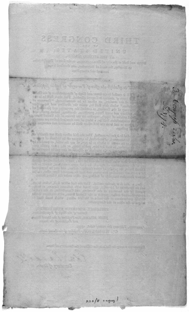... An act to establish the office of Purveyor of public supplies. [Philadelphia: Printed by Francis Childs, 1795].