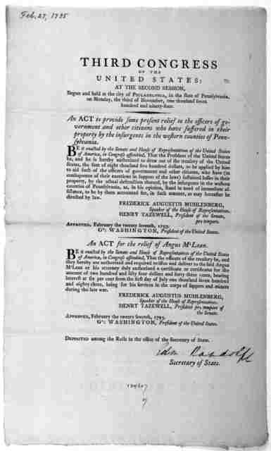 ... An act to provide some present relief to the officers of government and other citizens who have suffered in their property by the insurgents in the western counties of Pennsylvania. [Followed by] An act for the relief of Angus M'Lean. [Phila