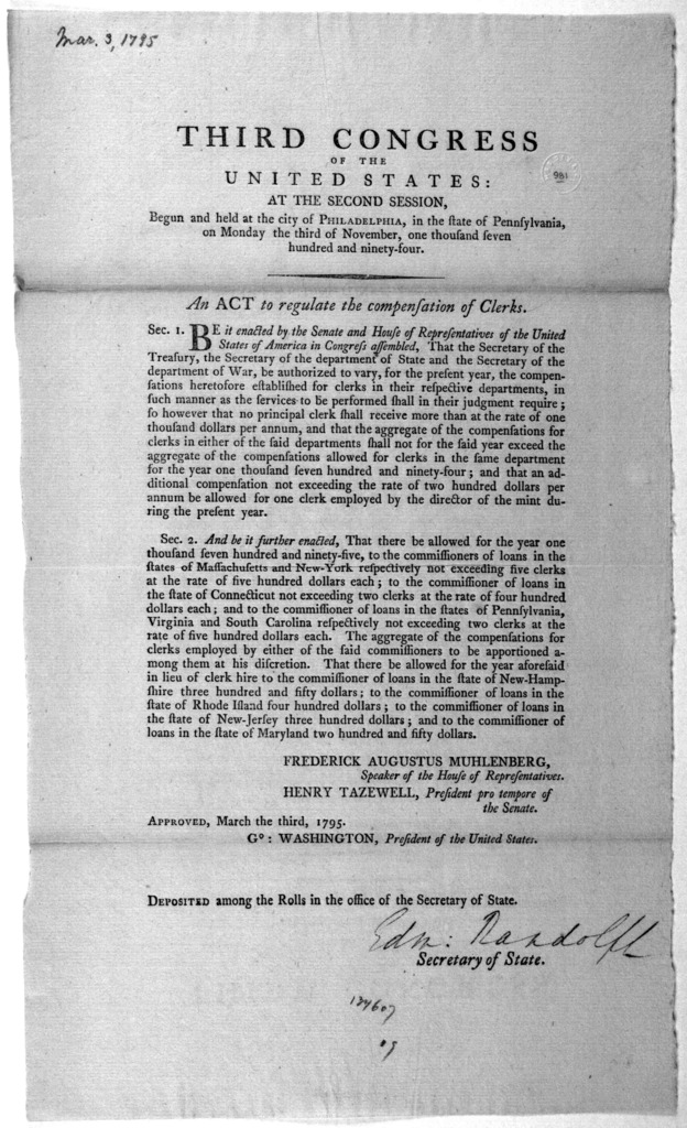 ... An act to regulate the compensation of clerks. [Philadelphia: Printed by Francis Childs, 1795].