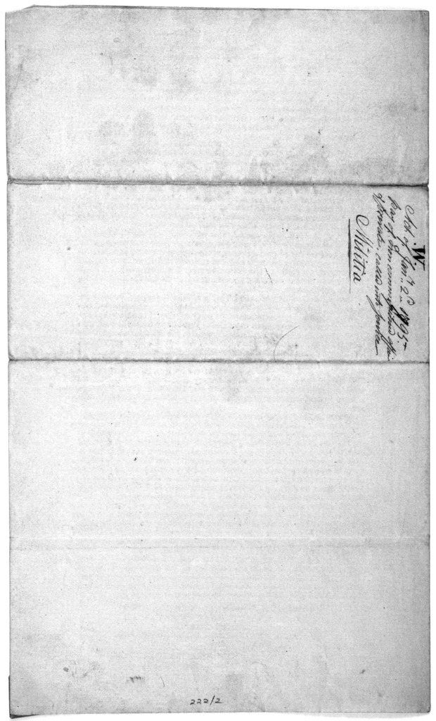 An act to regulate the pay of the non commissioned officers, musicians and privates of the militia of the United States, when called into actual service and for other purposes ... Approved, January 2, 1795: George Washington, President of the Un