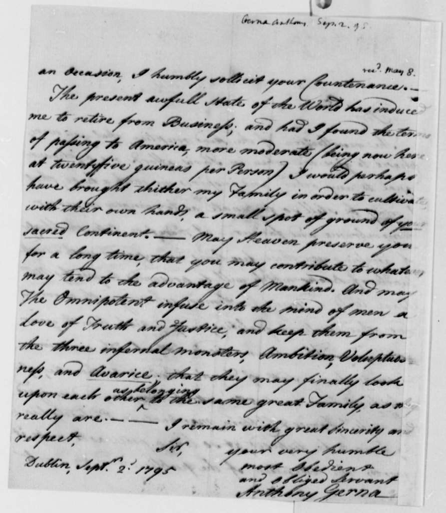 Anthony Gerna to Thomas Jefferson, September 2, 1795