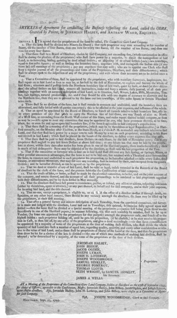 Articles of agreement for conducting the business respecting the land, called the Gore, granted by patent, to Jeremiah Halsey and Andrew Ward, Esquire. [Hartford, 1795].