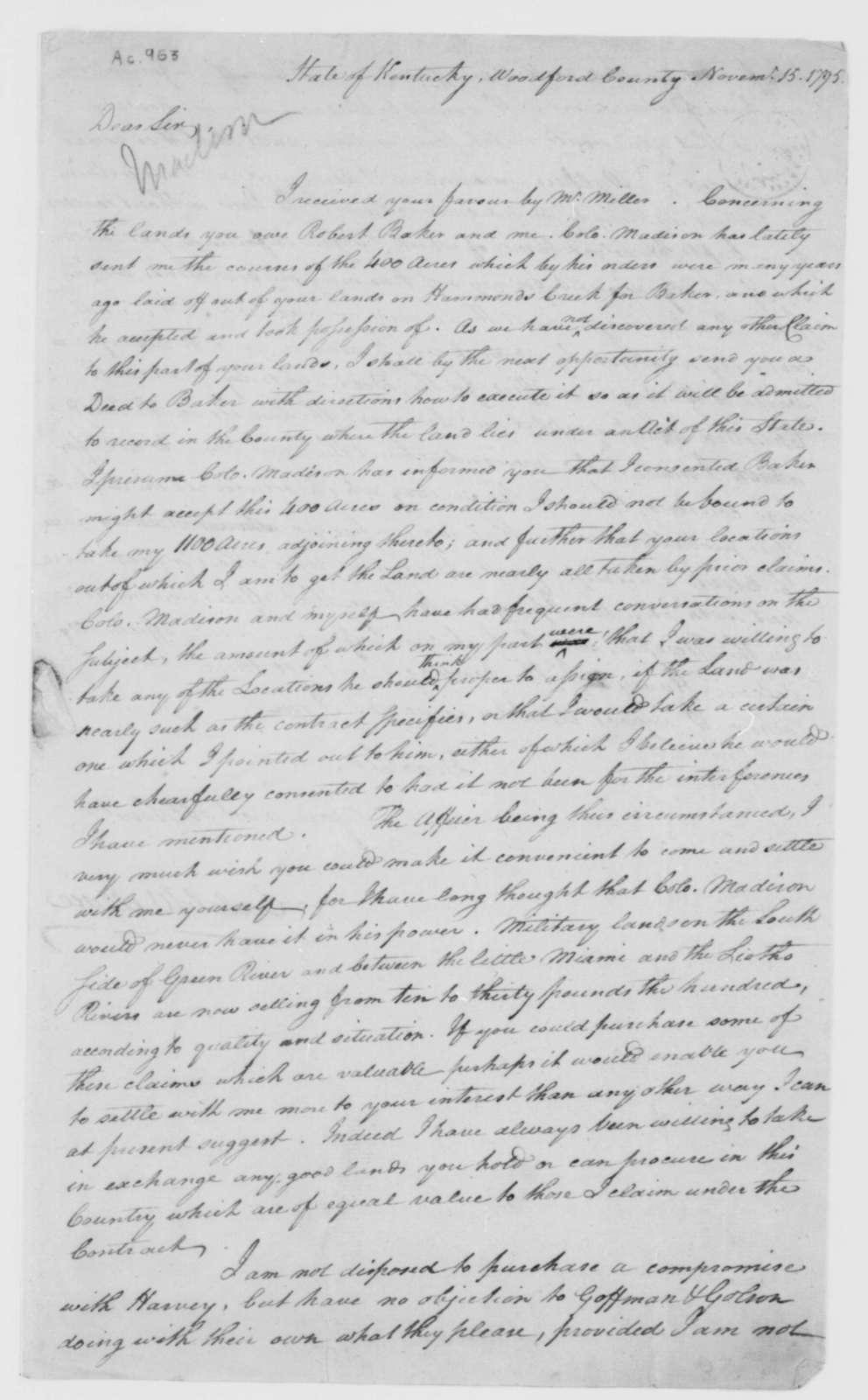 Caleb Wallace to Thomas F. Madison, November 15, 1795.