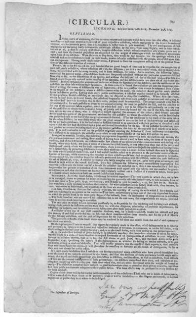 (Circular.) Richmond. Supervisor's office. December 31, 1795. Gentlemen. In the course of examining the late revenue returns and accounts which have come into this office, it is found necessary to call your attention to several of your respectiv