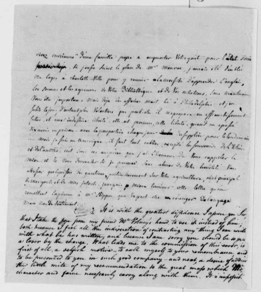 Count de Volney to Thomas Jefferson, November 13, 1795, in French with Note from Jefferson