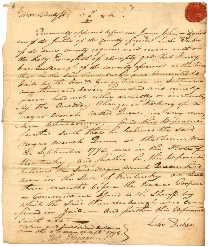 Deposition of Luke Decker before Judge James Johnson, Knox County, Territory of the United States Northwest of the Ohio