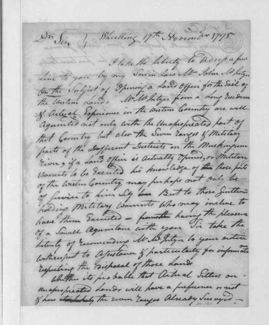 Ebenezer Zane to James Madison, November 17, 1795.