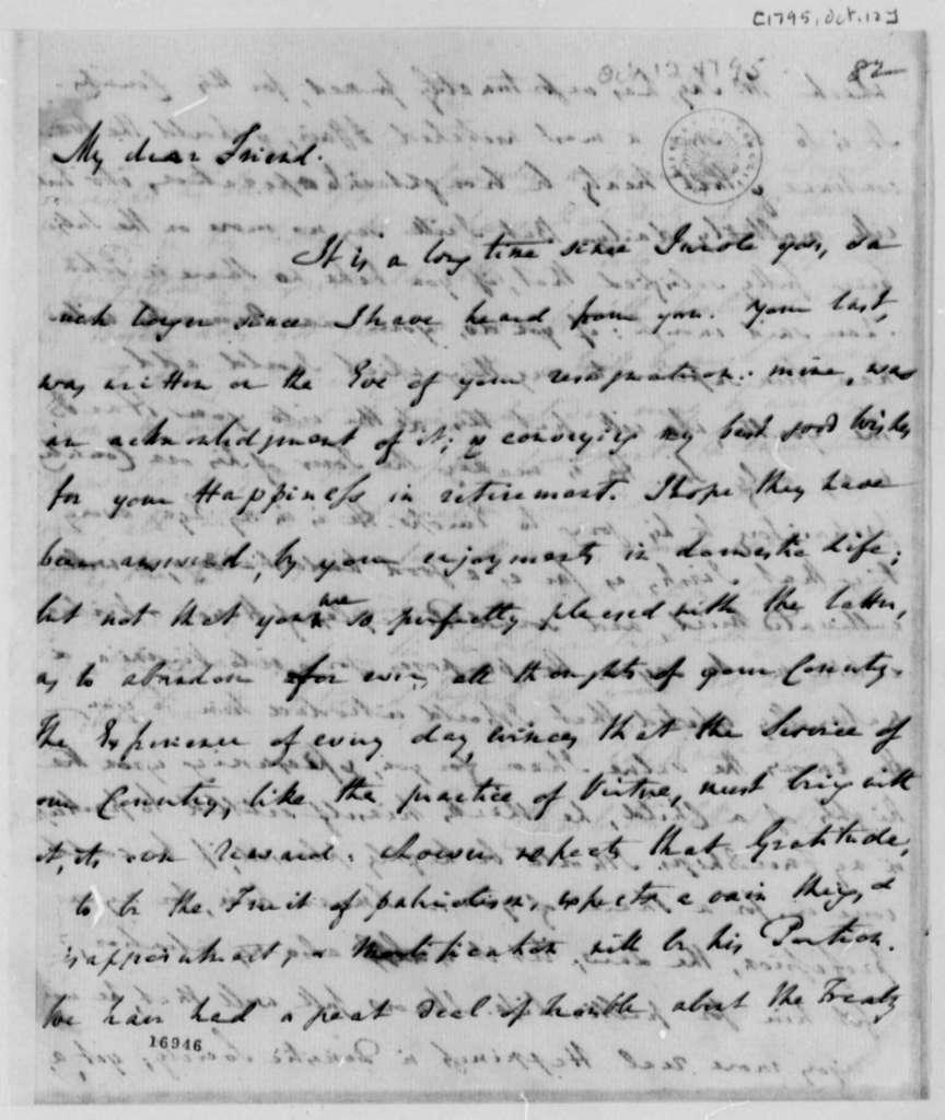Edward Rutledge to Thomas Jefferson, October 12, 1795