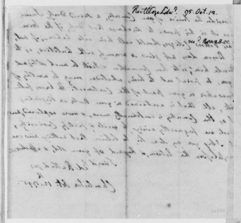 Edward Rutledge to Thomas Jefferson, October 12, 1795