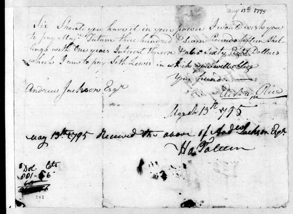 Elisha Rice to Andrew Jackson, May 13, 1795