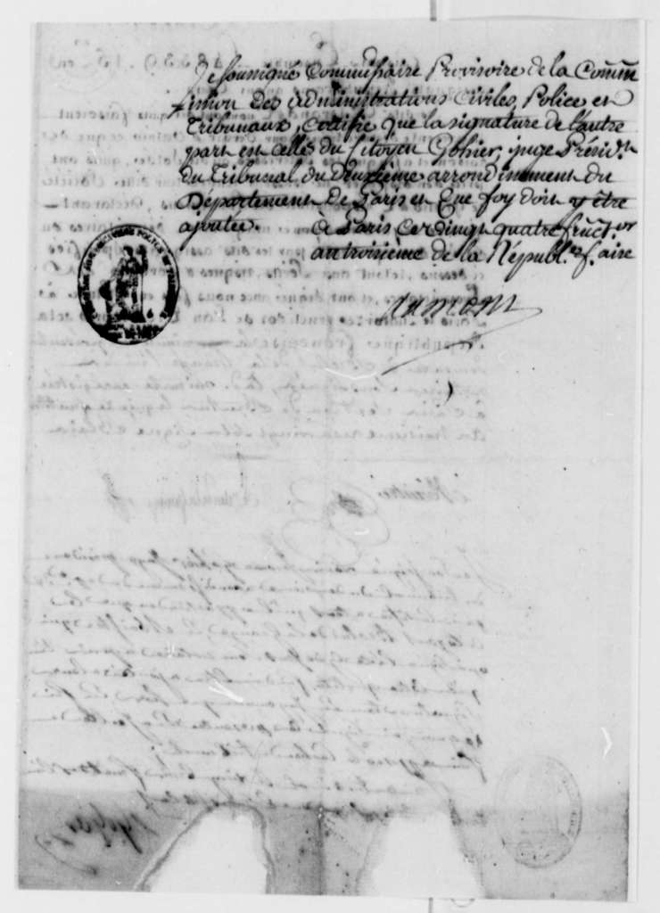 Ferdinand Grand & Company to Thomas Jefferson, September 11, 1795, in French; with Enclosures, some dated 1789