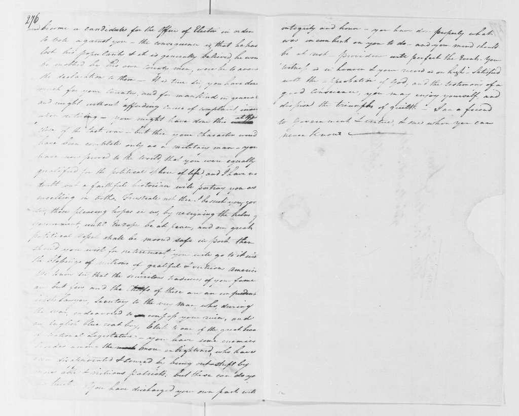 George Washington Papers, Series 4, General Correspondence: Anonymous to George Washington, November 1795