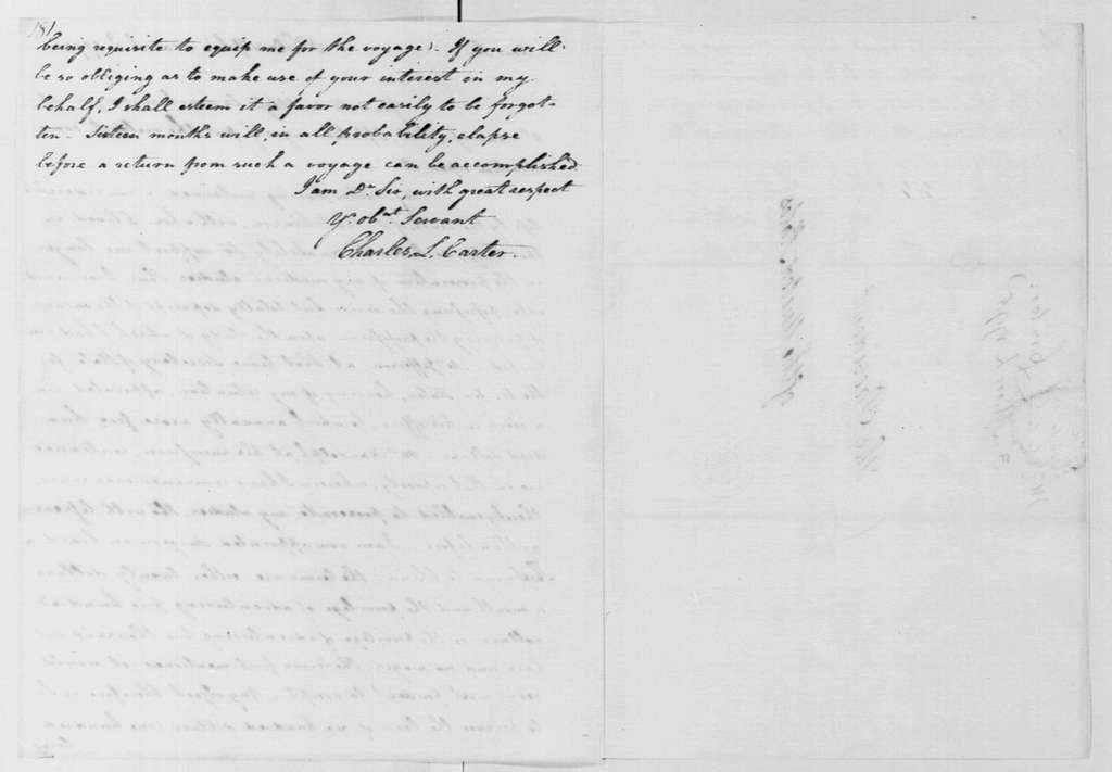 George Washington Papers, Series 4, General Correspondence: Charles L. Carter to George Washington, March 3, 1795