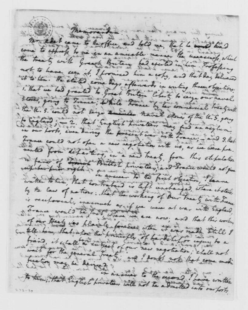 George Washington Papers, Series 4, General Correspondence: Edmund Randolph, July 14, 1795, French Policy