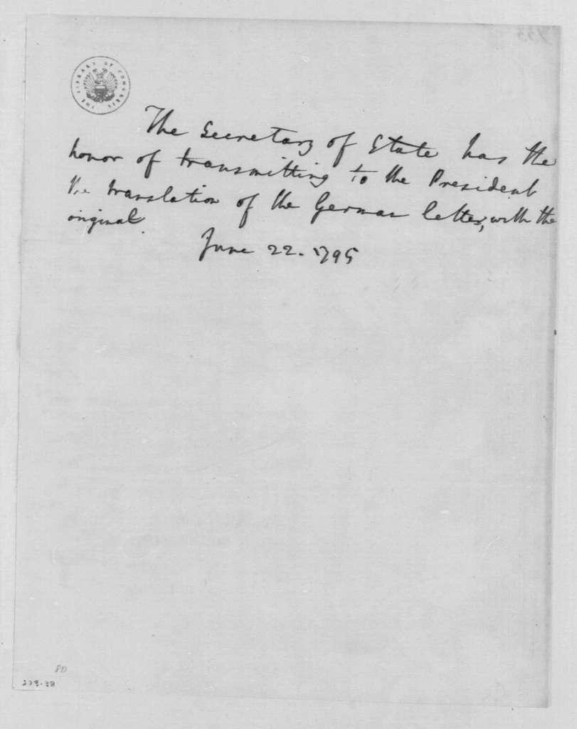 George Washington Papers, Series 4, General Correspondence: Edmund Randolph to George Washington, June 22, 1795