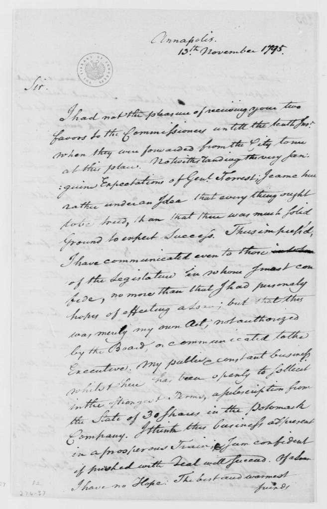 George Washington Papers, Series 4, General Correspondence: Gustavus Scott to George Washington, November 13, 1795