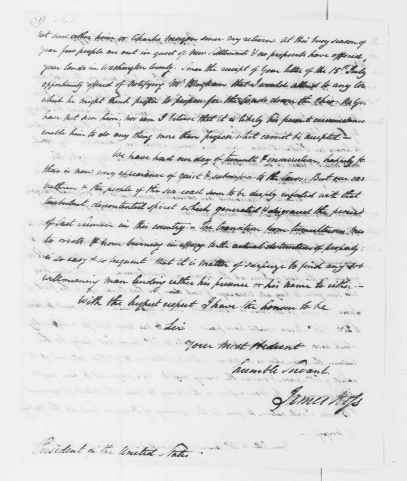 George Washington Papers, Series 4, General Correspondence: James Ross to George Washington, August 3, 1795