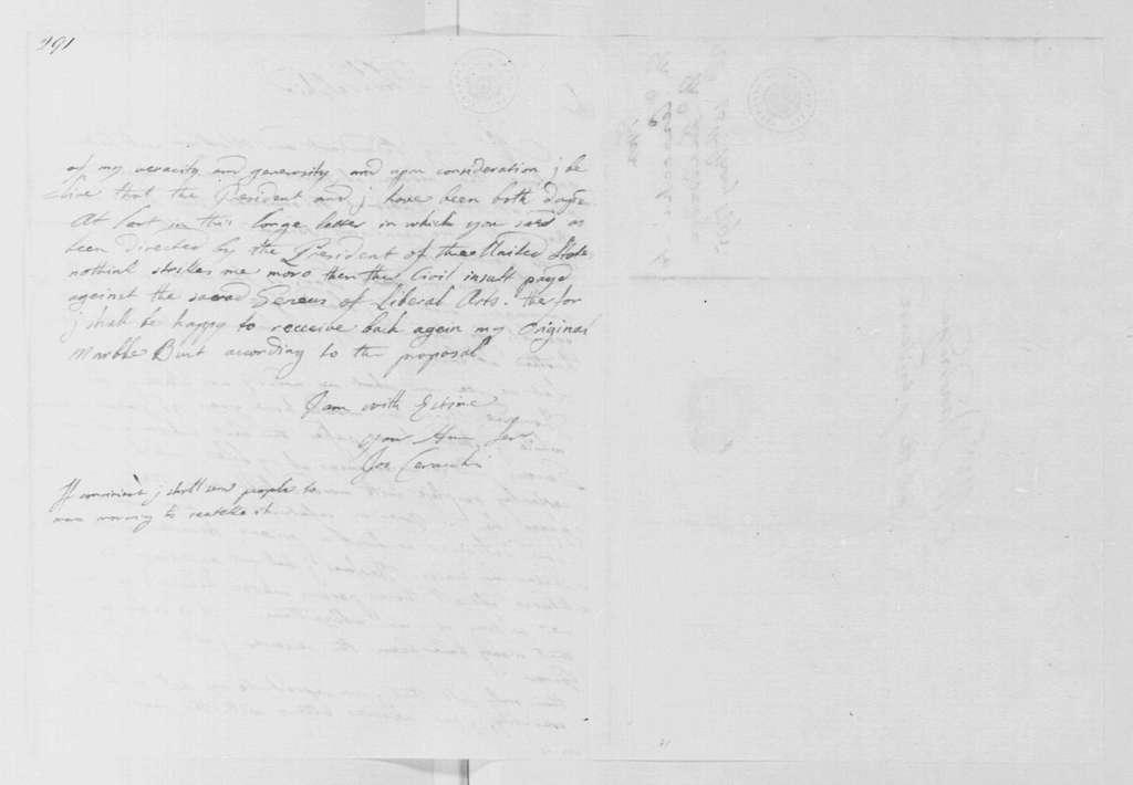 George Washington Papers, Series 4, General Correspondence: Joseph Ceracchi to Bartholomew Dandridge, May 10, 1795