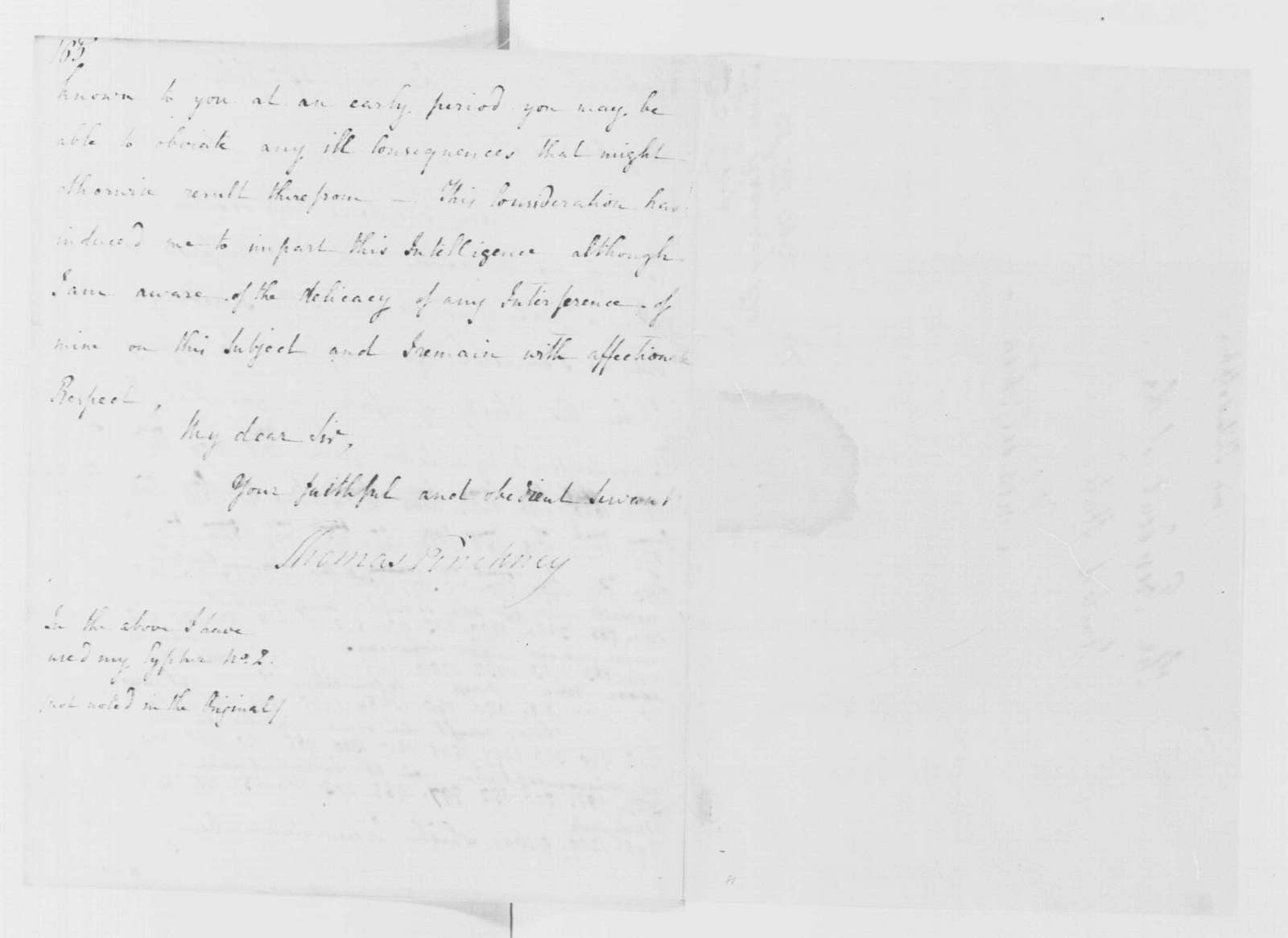 George Washington Papers, Series 4, General Correspondence: Thomas Pinckney to George Washington, February 25, 1795, in Code, with Decoded Copy