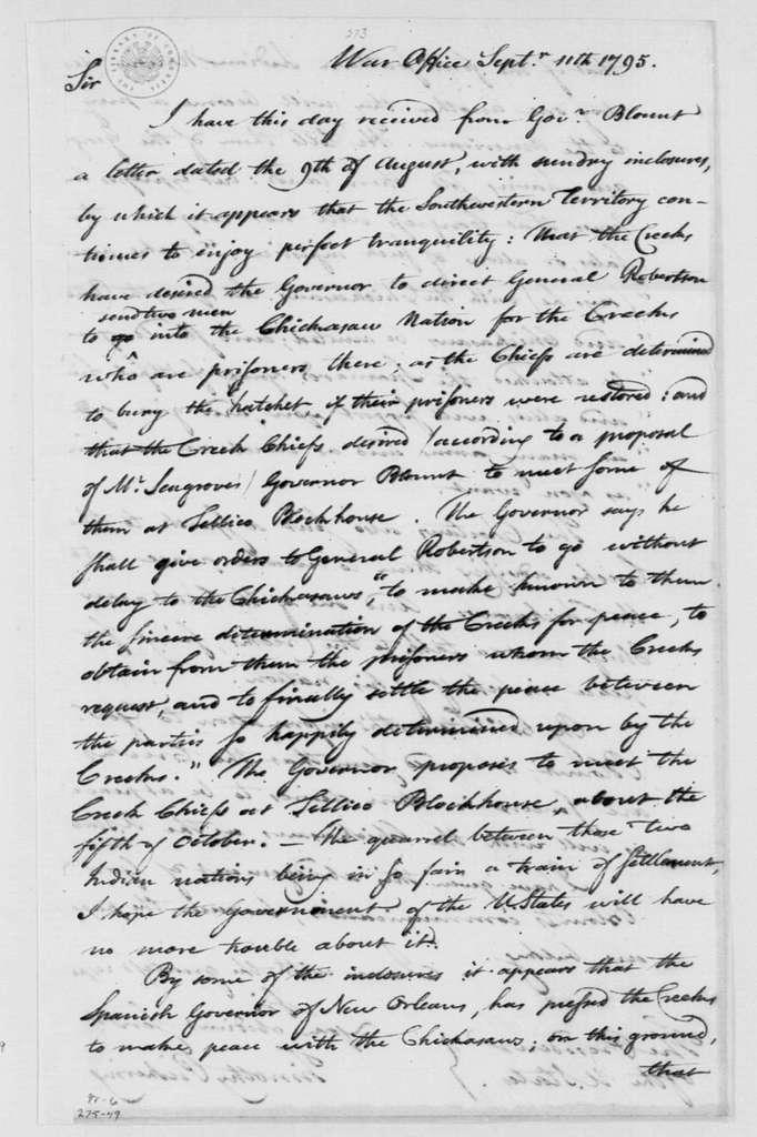 George Washington Papers, Series 4, General Correspondence: Timothy Pickering to George Washington, September 11, 1795