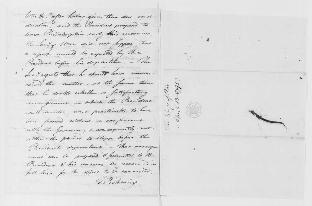 George Washington Papers, Series 4, General Correspondence: Timothy Pickering to George Washington, April 13, 1795